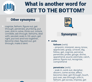 get to the bottom, synonym get to the bottom, another word for get to the bottom, words like get to the bottom, thesaurus get to the bottom