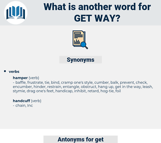 get way, synonym get way, another word for get way, words like get way, thesaurus get way