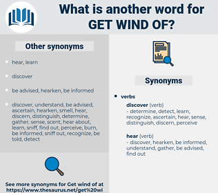 get wind of, synonym get wind of, another word for get wind of, words like get wind of, thesaurus get wind of