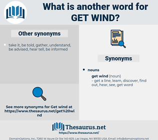 get wind, synonym get wind, another word for get wind, words like get wind, thesaurus get wind