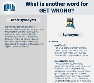 get wrong, synonym get wrong, another word for get wrong, words like get wrong, thesaurus get wrong