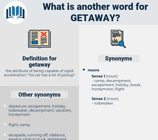 getaway, synonym getaway, another word for getaway, words like getaway, thesaurus getaway