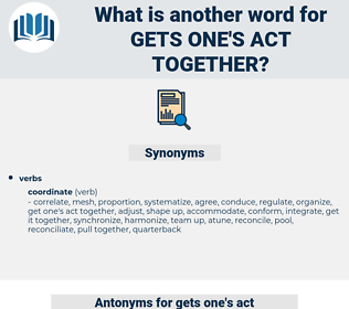 gets one's act together, synonym gets one's act together, another word for gets one's act together, words like gets one's act together, thesaurus gets one's act together