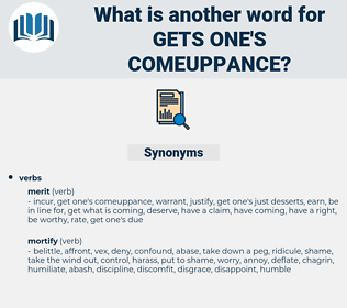 gets one's comeuppance, synonym gets one's comeuppance, another word for gets one's comeuppance, words like gets one's comeuppance, thesaurus gets one's comeuppance