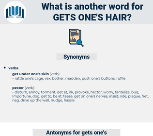 gets one's hair, synonym gets one's hair, another word for gets one's hair, words like gets one's hair, thesaurus gets one's hair