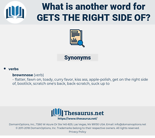 gets the right side of, synonym gets the right side of, another word for gets the right side of, words like gets the right side of, thesaurus gets the right side of
