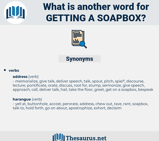 getting a soapbox, synonym getting a soapbox, another word for getting a soapbox, words like getting a soapbox, thesaurus getting a soapbox