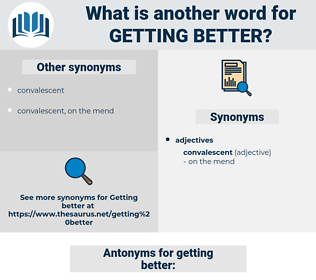 getting better, synonym getting better, another word for getting better, words like getting better, thesaurus getting better