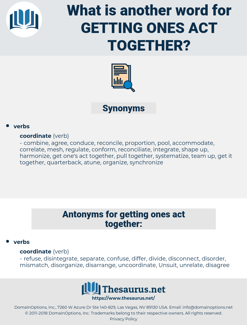 getting ones act together, synonym getting ones act together, another word for getting ones act together, words like getting ones act together, thesaurus getting ones act together