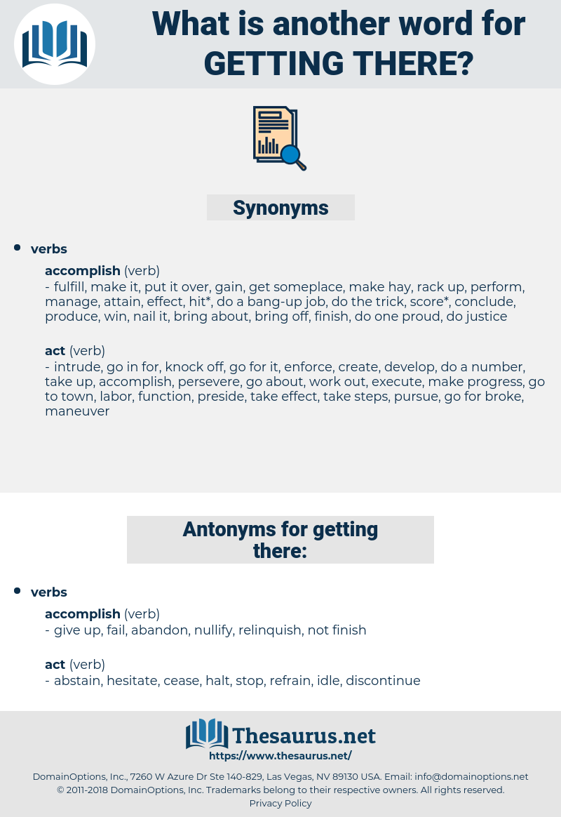 getting there, synonym getting there, another word for getting there, words like getting there, thesaurus getting there