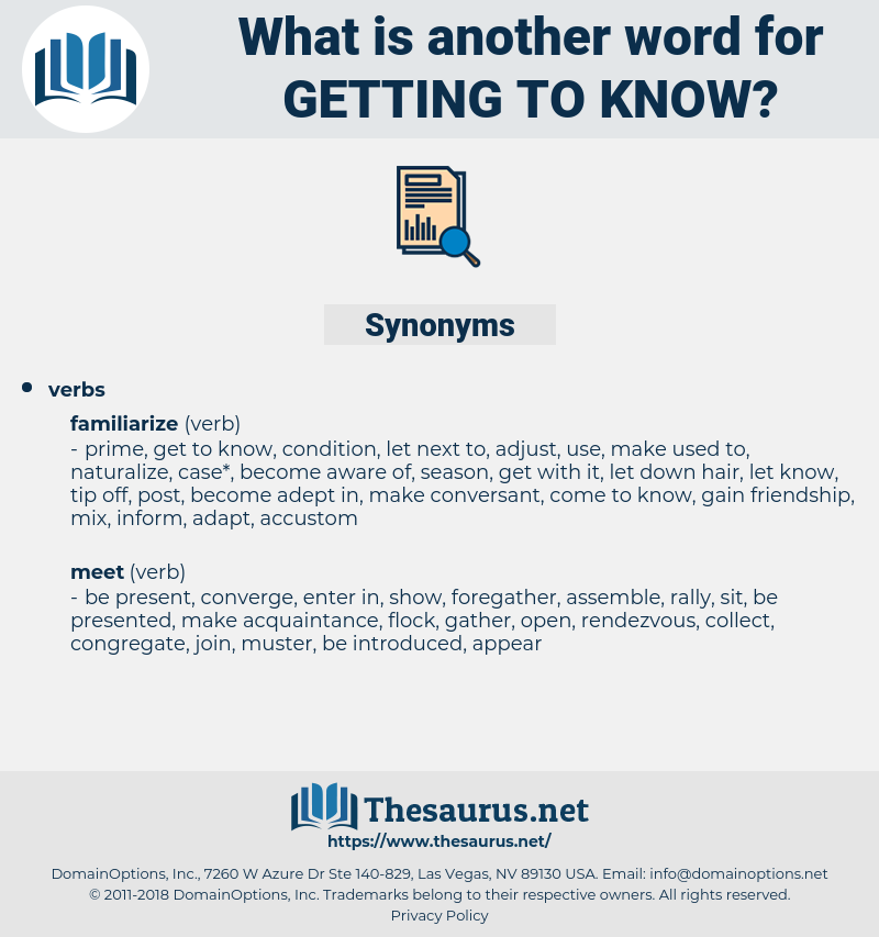 getting to know, synonym getting to know, another word for getting to know, words like getting to know, thesaurus getting to know