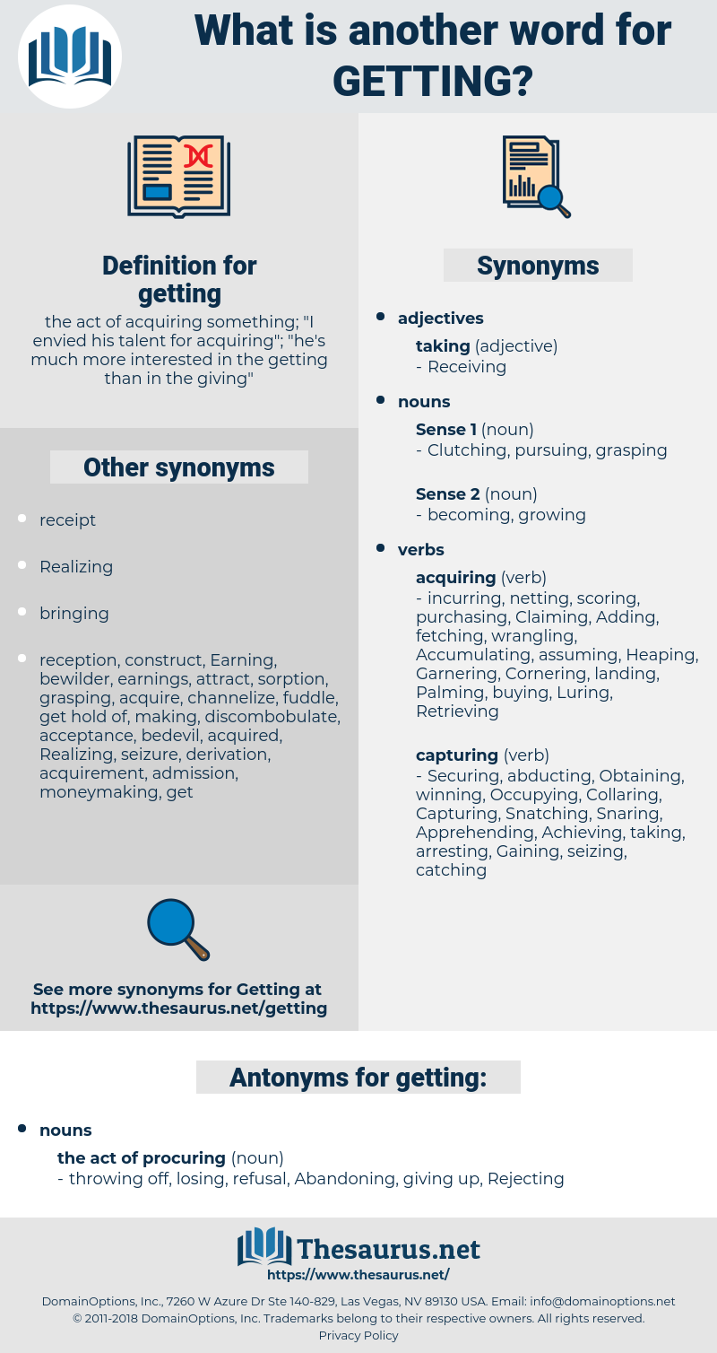 Synonyms For Getting Antonyms For Getting Thesaurus Net