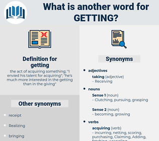 getting, synonym getting, another word for getting, words like getting, thesaurus getting
