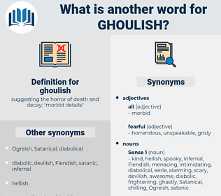 ghoulish, synonym ghoulish, another word for ghoulish, words like ghoulish, thesaurus ghoulish