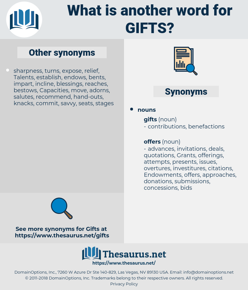 gifts, synonym gifts, another word for gifts, words like gifts, thesaurus gifts