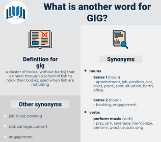 gig, synonym gig, another word for gig, words like gig, thesaurus gig