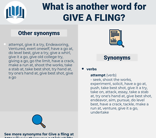 give a fling, synonym give a fling, another word for give a fling, words like give a fling, thesaurus give a fling