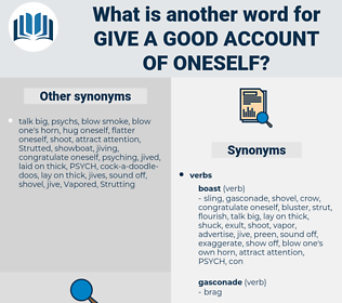 give a good account of oneself, synonym give a good account of oneself, another word for give a good account of oneself, words like give a good account of oneself, thesaurus give a good account of oneself
