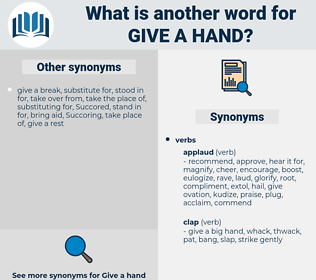 give a hand, synonym give a hand, another word for give a hand, words like give a hand, thesaurus give a hand
