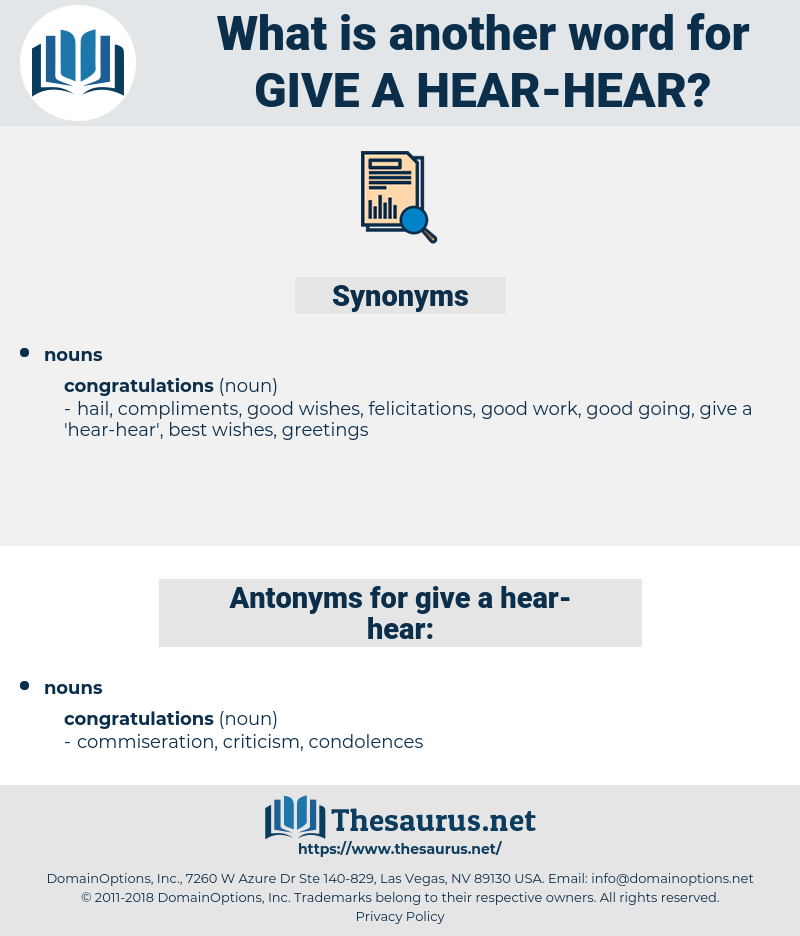 give a 'hear-hear', synonym give a 'hear-hear', another word for give a 'hear-hear', words like give a 'hear-hear', thesaurus give a 'hear-hear'