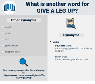 give a leg up, synonym give a leg up, another word for give a leg up, words like give a leg up, thesaurus give a leg up