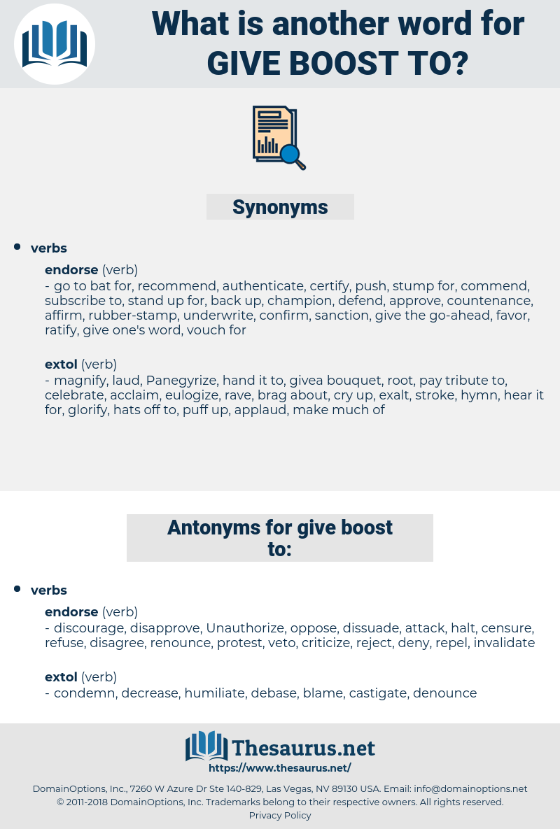 give boost to, synonym give boost to, another word for give boost to, words like give boost to, thesaurus give boost to