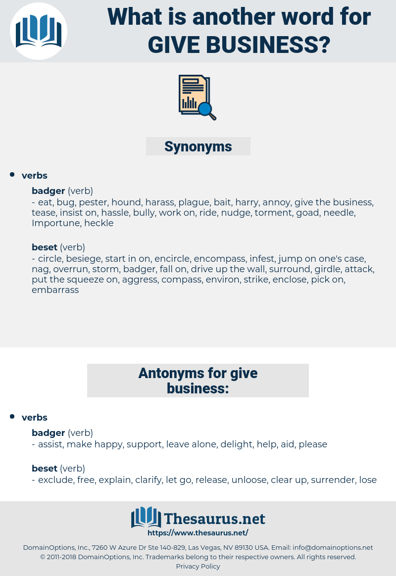 give business, synonym give business, another word for give business, words like give business, thesaurus give business