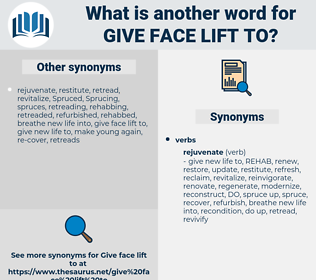 give face lift to, synonym give face lift to, another word for give face lift to, words like give face lift to, thesaurus give face lift to