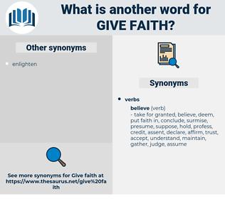 give faith, synonym give faith, another word for give faith, words like give faith, thesaurus give faith