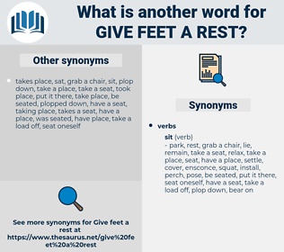 give feet a rest, synonym give feet a rest, another word for give feet a rest, words like give feet a rest, thesaurus give feet a rest