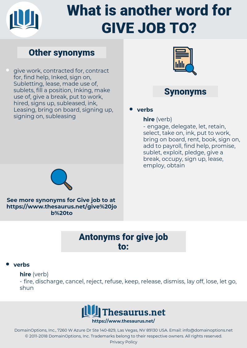 give job to, synonym give job to, another word for give job to, words like give job to, thesaurus give job to