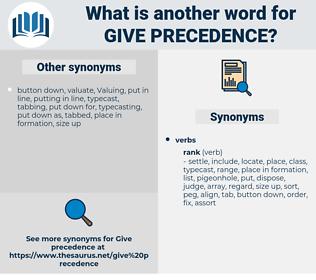 give precedence, synonym give precedence, another word for give precedence, words like give precedence, thesaurus give precedence