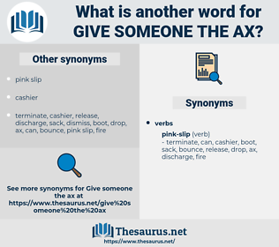give someone the ax, synonym give someone the ax, another word for give someone the ax, words like give someone the ax, thesaurus give someone the ax