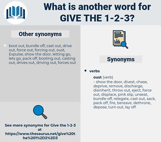 give the 1 2 3, synonym give the 1 2 3, another word for give the 1 2 3, words like give the 1 2 3, thesaurus give the 1 2 3