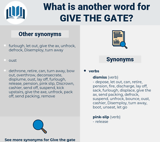 give the gate, synonym give the gate, another word for give the gate, words like give the gate, thesaurus give the gate