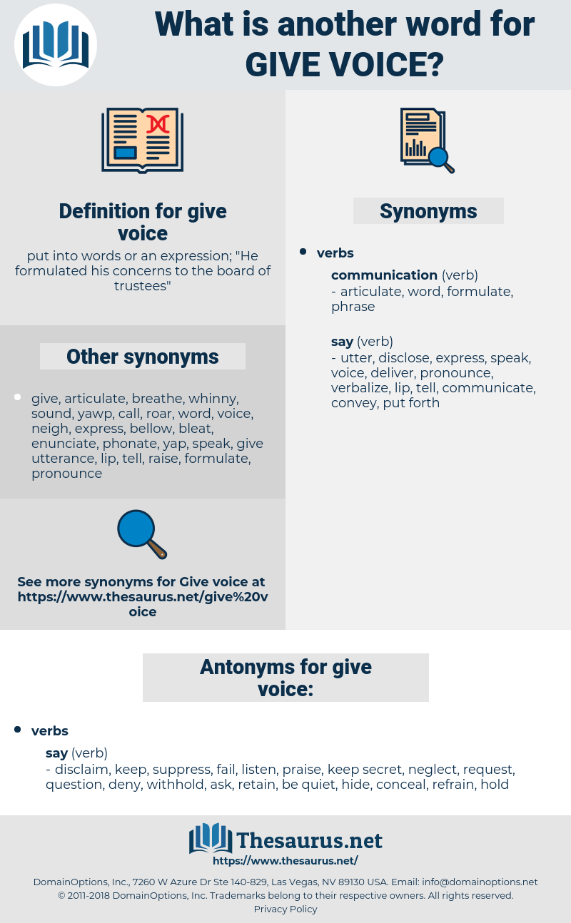 give voice, synonym give voice, another word for give voice, words like give voice, thesaurus give voice
