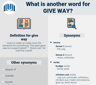 give way, synonym give way, another word for give way, words like give way, thesaurus give way