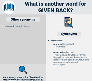 given back, synonym given back, another word for given back, words like given back, thesaurus given back