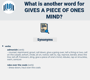 gives a piece of ones mind, synonym gives a piece of ones mind, another word for gives a piece of ones mind, words like gives a piece of ones mind, thesaurus gives a piece of ones mind