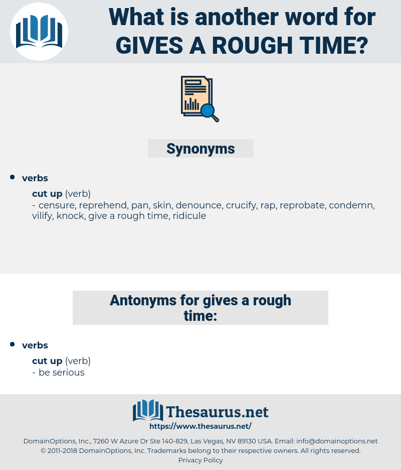 gives a rough time, synonym gives a rough time, another word for gives a rough time, words like gives a rough time, thesaurus gives a rough time