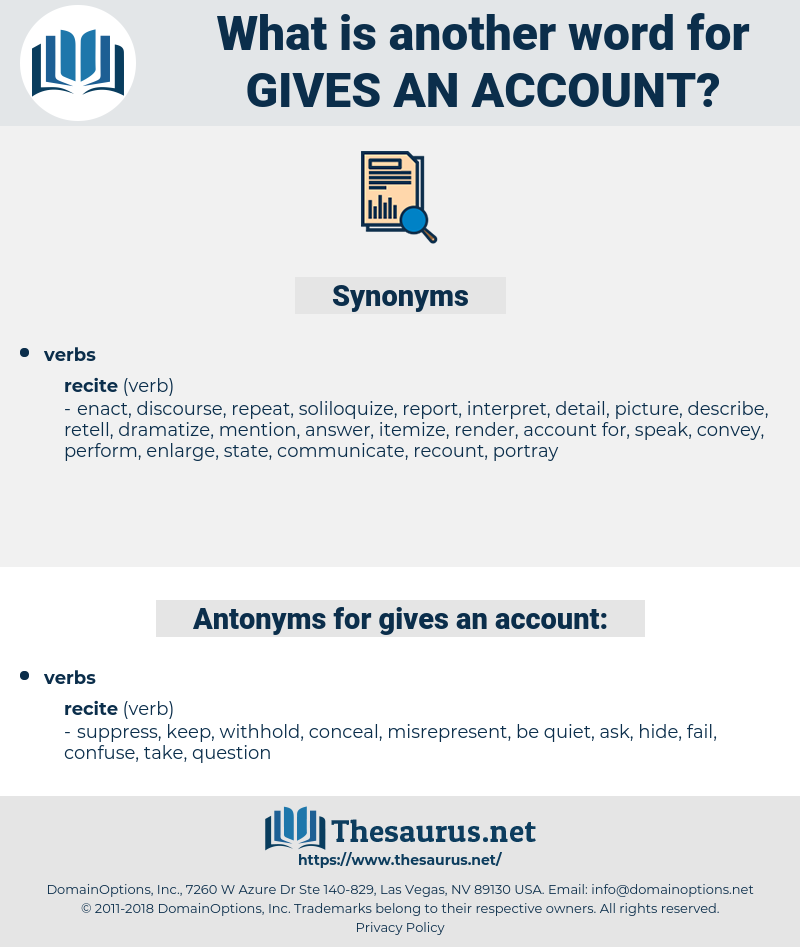 gives an account, synonym gives an account, another word for gives an account, words like gives an account, thesaurus gives an account