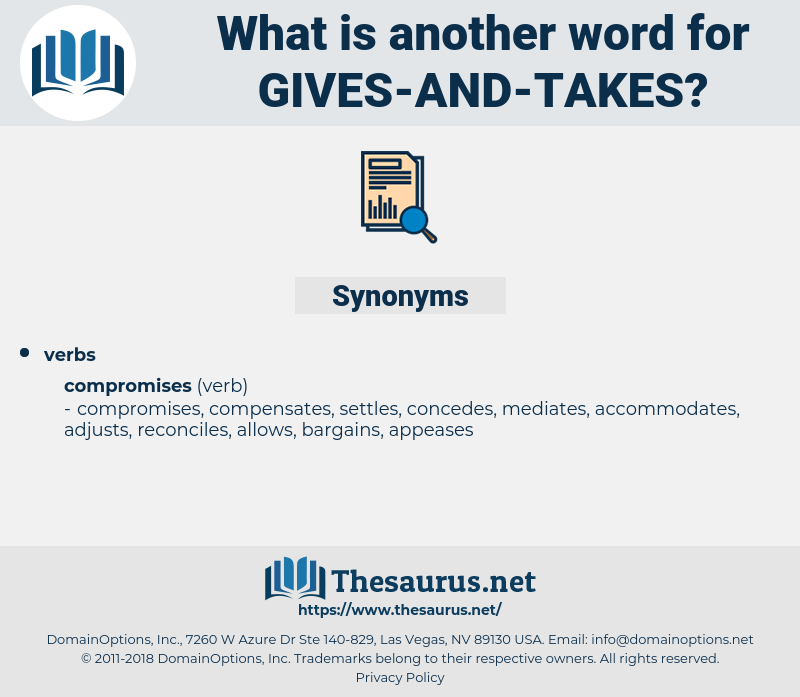 gives-and-takes, synonym gives-and-takes, another word for gives-and-takes, words like gives-and-takes, thesaurus gives-and-takes