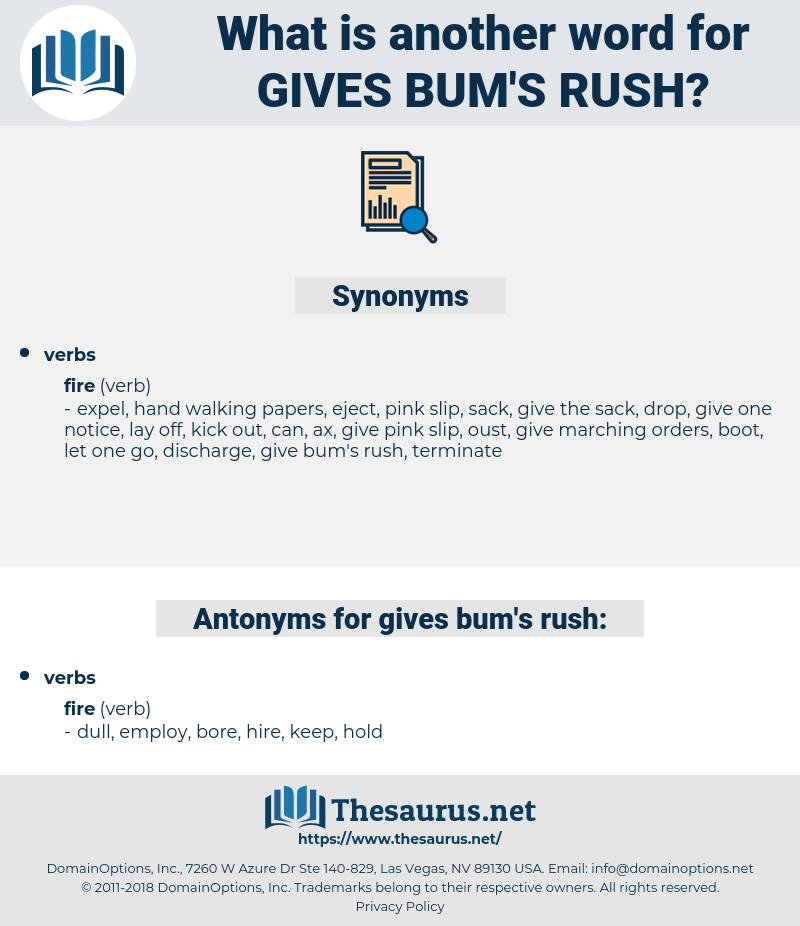 gives bum's rush, synonym gives bum's rush, another word for gives bum's rush, words like gives bum's rush, thesaurus gives bum's rush