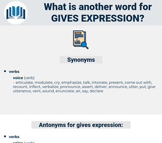 gives expression, synonym gives expression, another word for gives expression, words like gives expression, thesaurus gives expression