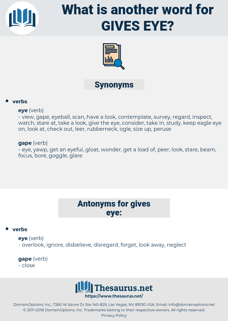 gives eye, synonym gives eye, another word for gives eye, words like gives eye, thesaurus gives eye