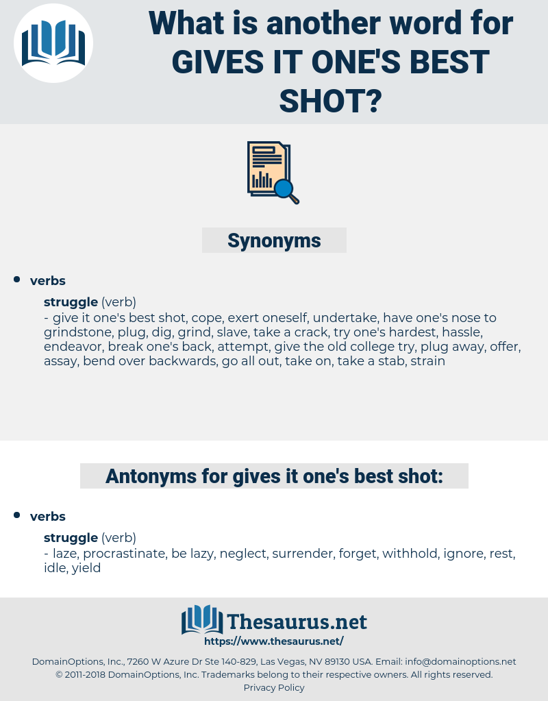 gives it one's best shot, synonym gives it one's best shot, another word for gives it one's best shot, words like gives it one's best shot, thesaurus gives it one's best shot