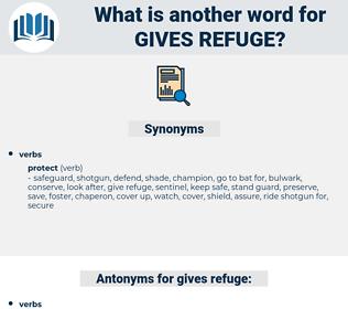 gives refuge, synonym gives refuge, another word for gives refuge, words like gives refuge, thesaurus gives refuge