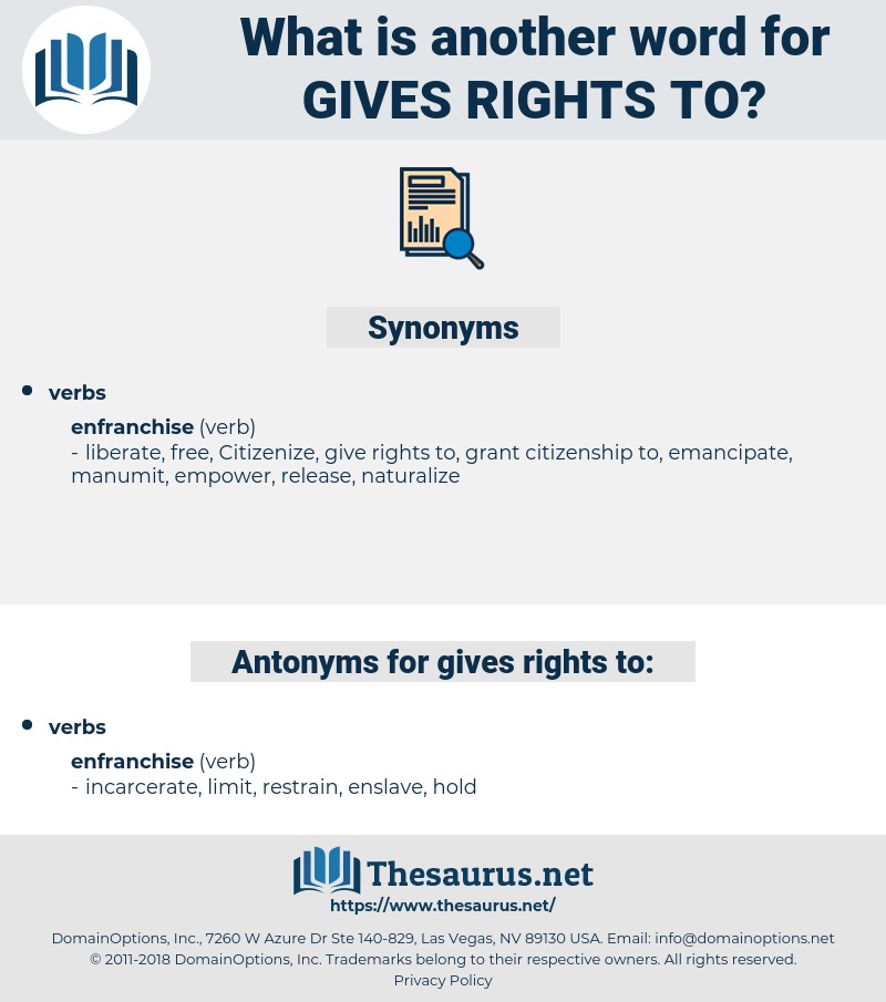 gives rights to, synonym gives rights to, another word for gives rights to, words like gives rights to, thesaurus gives rights to