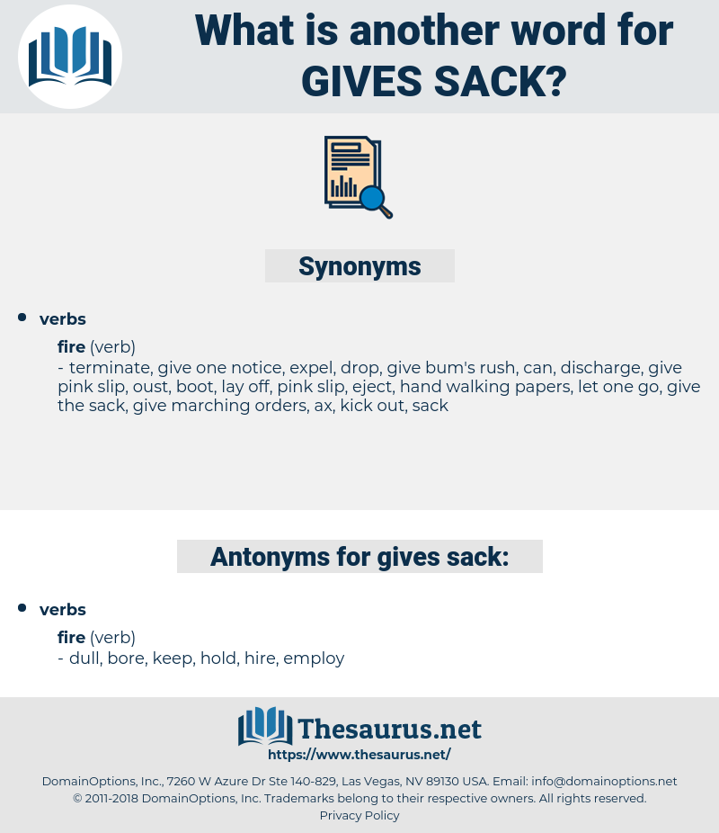 gives sack, synonym gives sack, another word for gives sack, words like gives sack, thesaurus gives sack