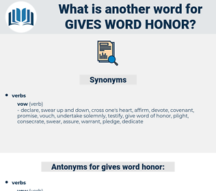 gives word honor, synonym gives word honor, another word for gives word honor, words like gives word honor, thesaurus gives word honor